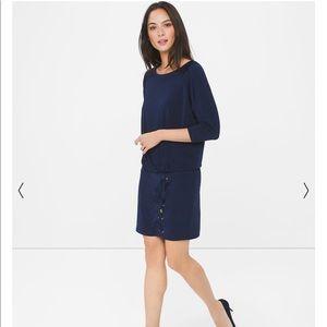 WHBM Dolman Sleeve Lace Up Blouson Dress Blue $110